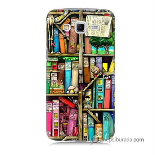 Teknomeg Samsung Galaxy Grand 2 Kapak Kılıf Kitaplık Baskılı Silikon