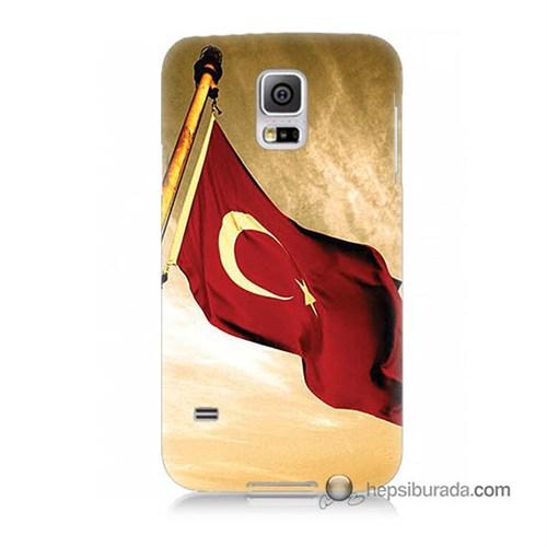 Teknomeg Samsung Galaxy S5 Mini Kılıf Kapak Türk Bayrağı Baskılı Silikon