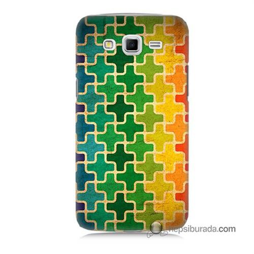 Teknomeg Samsung Galaxy Grand 2 Kapak Kılıf Renkli Artı Baskılı Silikon