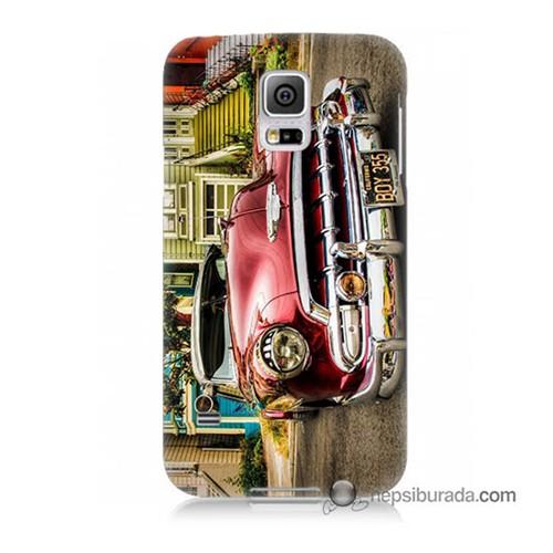 Teknomeg Samsung Galaxy S5 Mini Kapak Kılıf Klasik Araba Baskılı Silikon