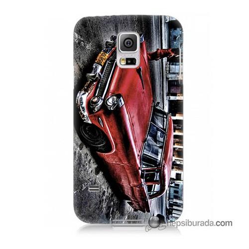Teknomeg Samsung Galaxy S5 Mini Kılıf Kapak Klasik Araba Baskılı Silikon