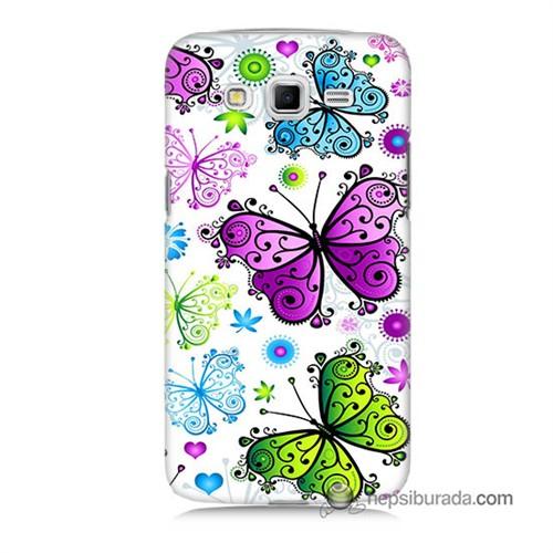 Teknomeg Samsung Galaxy Grand 2 Kapak Kılıf Renkli Kelebekler Baskılı Silikon