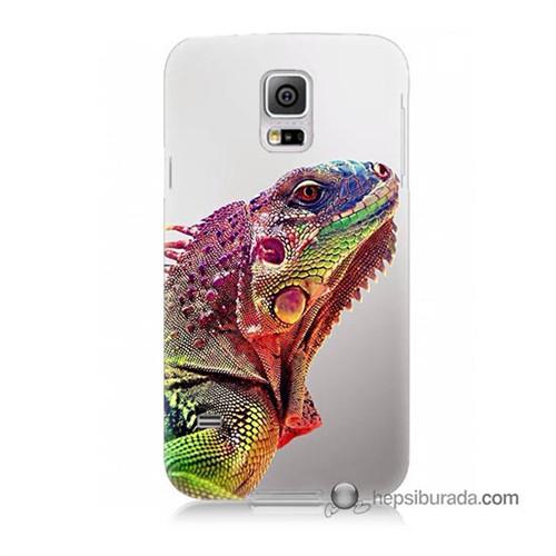 Teknomeg Samsung Galaxy S5 Mini Kapak Kılıf İguana Baskılı Silikon