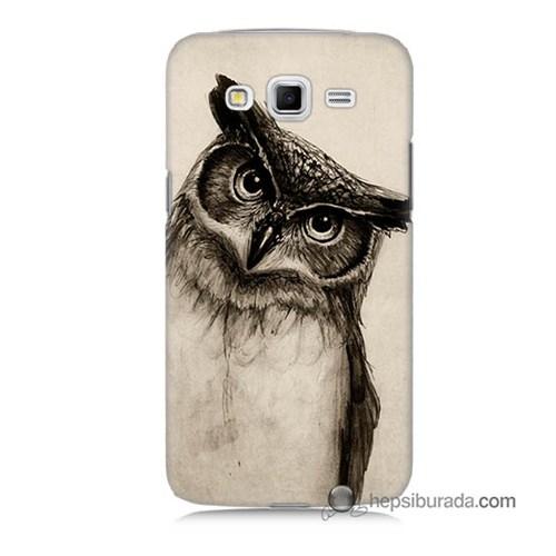 Teknomeg Samsung Galaxy Grand 2 Kılıf Kapak Düşünen Baykuş Baskılı Silikon