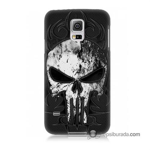 Teknomeg Samsung Galaxy S5 Mini Kapak Kılıf Punnisher Kurukafa Baskılı Silikon