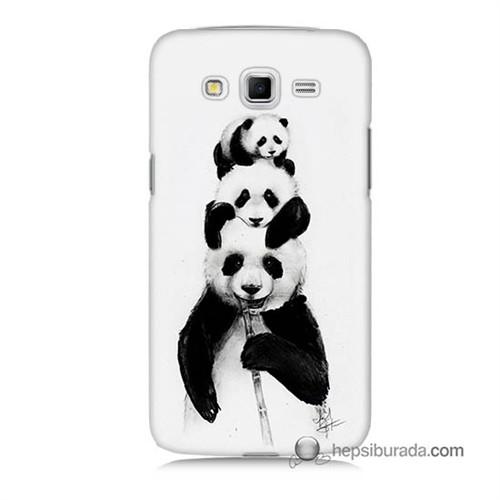 Teknomeg Samsung Galaxy Grand 2 Kapak Kılıf Panda Ailesi Baskılı Silikon
