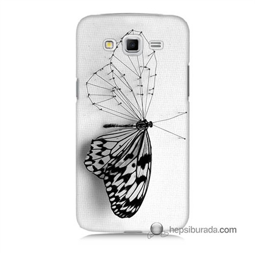 Teknomeg Samsung Galaxy Grand 2 Kapak Kılıf Kanatsız Kelebek Baskılı Silikon