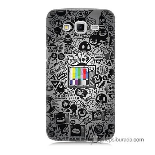 Teknomeg Samsung Galaxy Grand 2 Kapak Kılıf Renkli Tv Baskılı Silikon