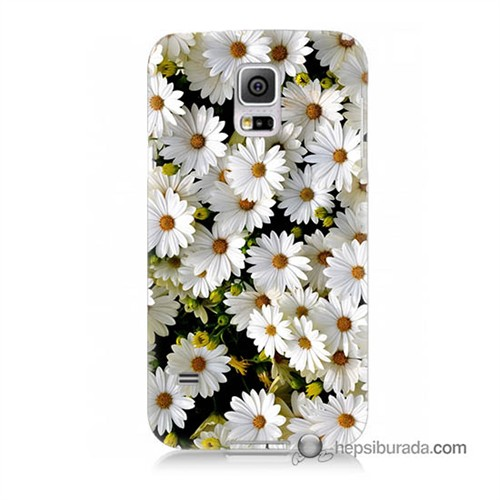 Teknomeg Samsung Galaxy S5 Mini Kılıf Kapak Papatyalar Baskılı Silikon