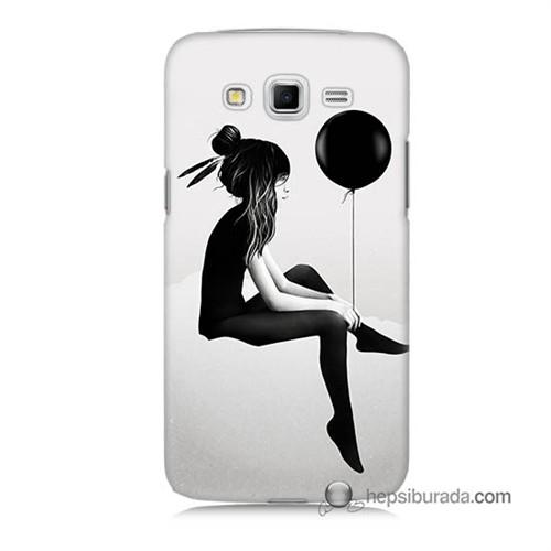 Teknomeg Samsung Galaxy Grand 2 Kapak Kılıf Balonlu Kız Baskılı Silikon