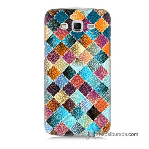 Teknomeg Samsung Galaxy Grand 2 Kılıf Kapak Kırkyama Baskılı Silikon