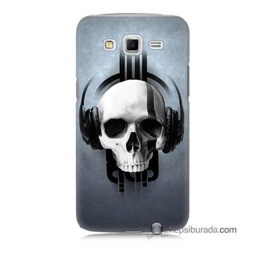 Teknomeg Samsung Galaxy Grand 2 Kılıf Kapak Müzik Dinleyen Kurukafa Baskılı Silikon