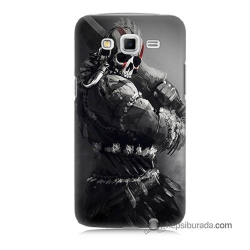 Teknomeg Samsung Galaxy Grand 2 Kılıf Kapak Tribal Warrior Baskılı Silikon