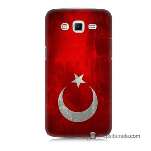 Teknomeg Samsung Galaxy Grand 2 Kılıf Kapak Türkiye Bayrağı Baskılı Silikon