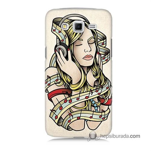 Teknomeg Samsung Galaxy Grand 2 Kapak Kılıf Müzik Aşkı Baskılı Silikon