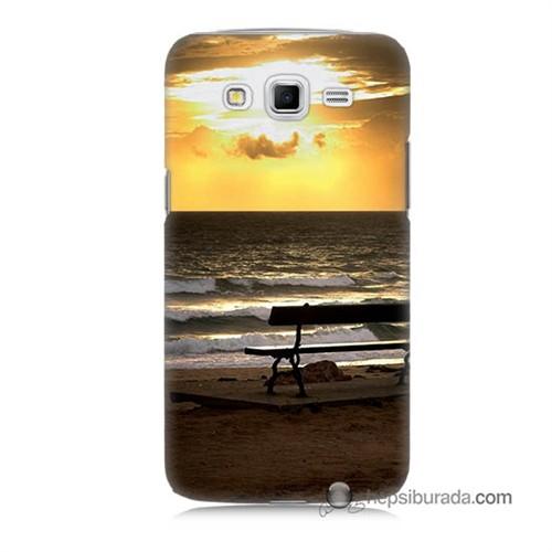 Teknomeg Samsung Galaxy Grand 2 Kılıf Kapak Gün Batımı Baskılı Silikon