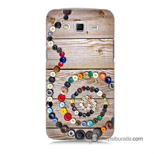 Teknomeg Samsung Galaxy Grand 2 Kapak Kılıf Düğmeler Baskılı Silikon