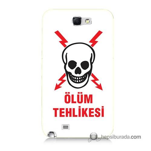 Teknomeg Samsung Galaxy Note 2 Kapak Kılıf Ölüm Tehlikesi Baskılı Silikon