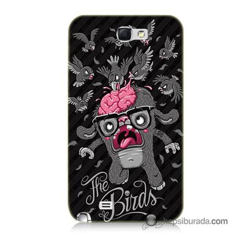 Teknomeg Samsung Galaxy Note 2 Kılıf Kapak The Birds Baskılı Silikon