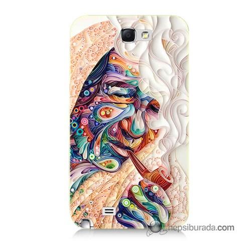 Teknomeg Samsung Galaxy Note 2 Kılıf Kapak Kağıt Sanatı Baskılı Silikon