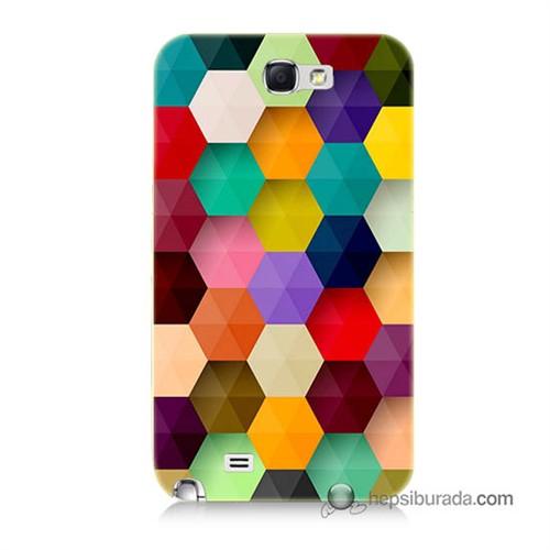 Teknomeg Samsung Galaxy Note 2 Kapak Kılıf Renkli Petek Baskılı Silikon