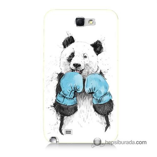 Teknomeg Samsung Galaxy Note 2 Kılıf Kapak Boksör Panda Baskılı Silikon