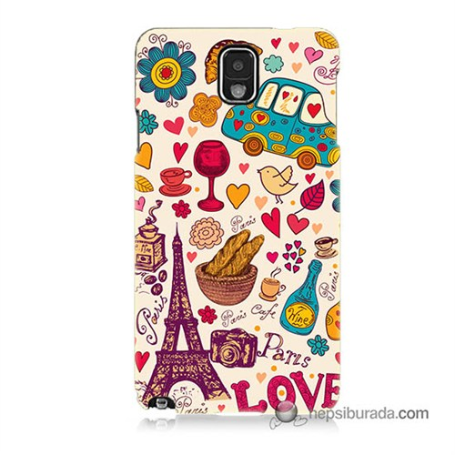 Teknomeg Samsung Galaxy Note 3 Kapak Kılıf Paris Love Baskılı Silikon