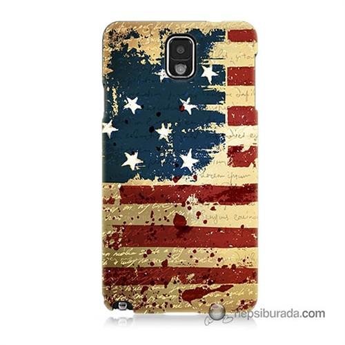 Teknomeg Samsung Galaxy Note 3 Kılıf Kapak Amerika Bayrağı Baskılı Silikon