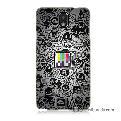 Teknomeg Samsung Galaxy Note 3 Kapak Kılıf Renkli Tv Baskılı Silikon