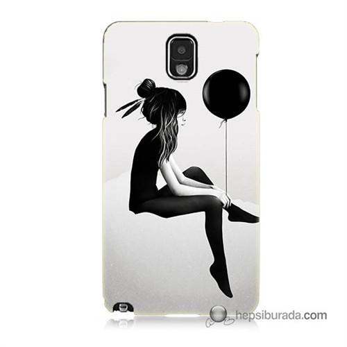 Teknomeg Samsung Galaxy Note 3 Kapak Kılıf Balonlu Kız Baskılı Silikon