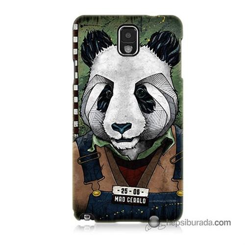 Teknomeg Samsung Galaxy Note 3 Kapak Kılıf İşçi Panda Baskılı Silikon
