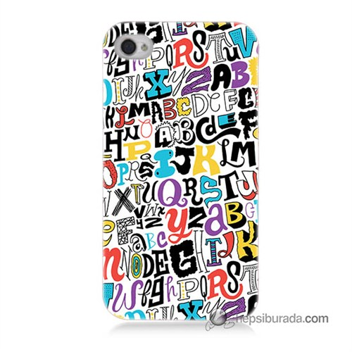 Teknomeg İphone 4 Kılıf Kapak Renkli Harfler Baskılı Silikon