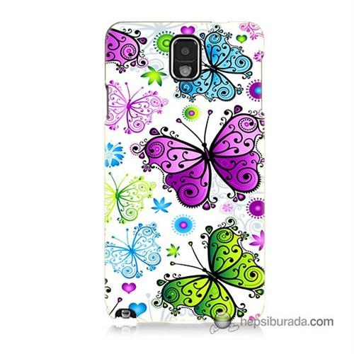Teknomeg Samsung Galaxy Note 3 Kapak Kılıf Renkli Kelebekler Baskılı Silikon