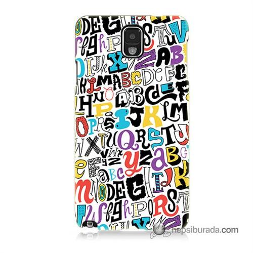 Teknomeg Samsung Galaxy Note 3 Kılıf Kapak Renkli Harfler Baskılı Silikon