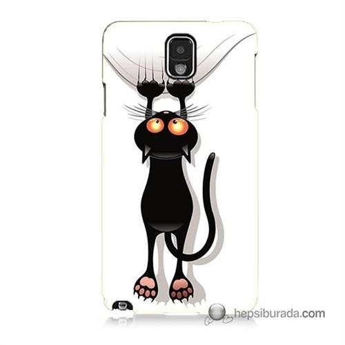 Teknomeg Samsung Galaxy Note 3 Kılıf Kapak Kara Kedi Baskılı Silikon