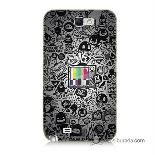 Teknomeg Samsung Galaxy Note 2 Kapak Kılıf Renkli Tv Baskılı Silikon