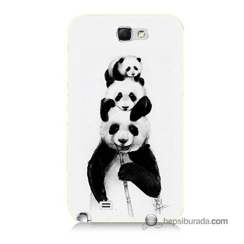 Teknomeg Samsung Galaxy Note 2 Kapak Kılıf Panda Ailesi Baskılı Silikon