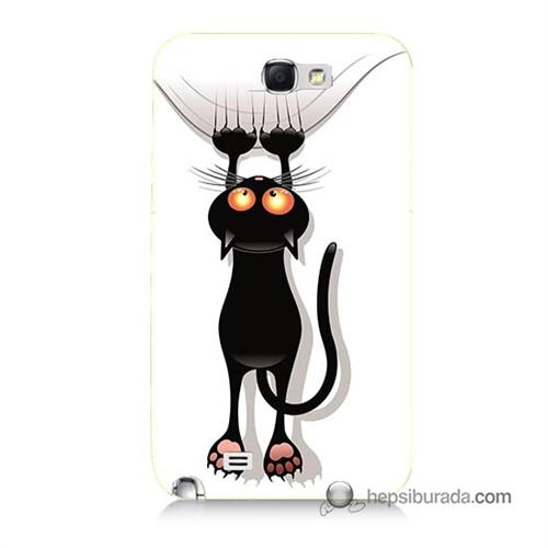 Teknomeg Samsung Galaxy Note 2 Kılıf Kapak Kara Kedi Baskılı Silikon