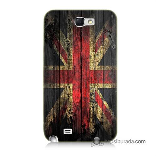 Teknomeg Samsung Galaxy Note 2 Kapak Kılıf İngiliz Bayrağı Baskılı Silikon