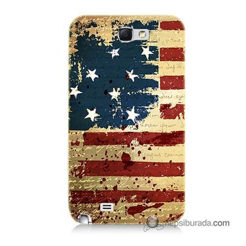 Teknomeg Samsung Galaxy Note 2 Kılıf Kapak Amerika Bayrağı Baskılı Silikon