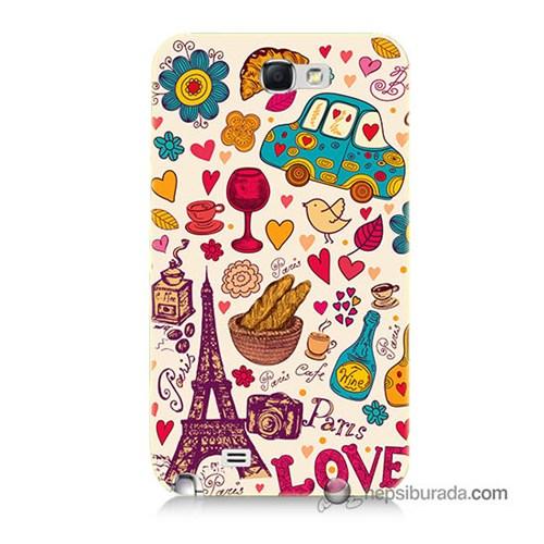 Teknomeg Samsung Galaxy Note 2 Kapak Kılıf Paris Love Baskılı Silikon