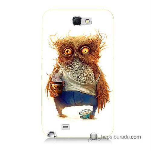 Teknomeg Samsung Galaxy Note 2 Kapak Kılıf Miskin Baykuş Baskılı Silikon