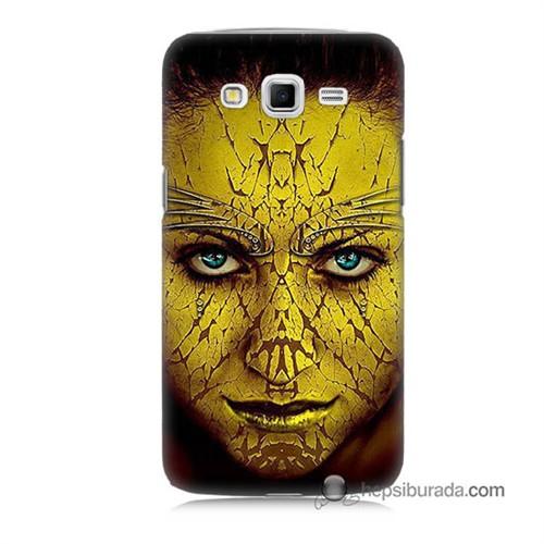 Teknomeg Samsung Galaxy Grand 2 Kapak Kılıf Sarı Kız Baskılı Silikon