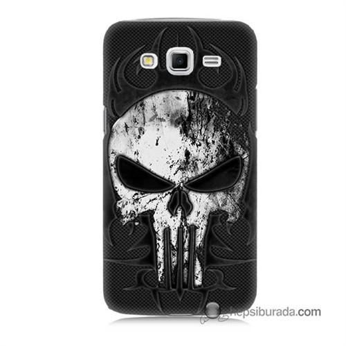 Teknomeg Samsung Galaxy Grand 2 Kapak Kılıf Punnisher Kurukafa Baskılı Silikon