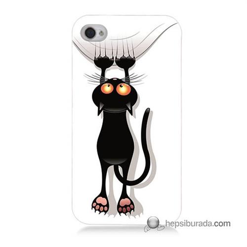 Teknomeg İphone 4 Kılıf Kapak Kara Kedi Baskılı Silikon