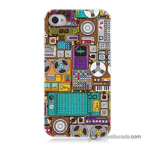 Teknomeg İphone 4 Kılıf Kapak Teknoloji Baskılı Silikon