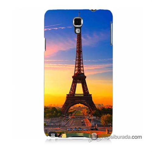 Teknomeg Samsung Galaxy Note 3 Neo Kapak Kılıf Eyfelde Gün Batımı Baskılı Silikon