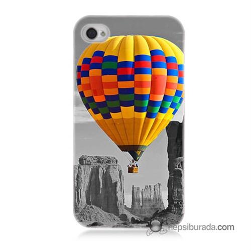 Teknomeg İphone 4 Kılıf Kapak Renkli Uçan Balon Baskılı Silikon