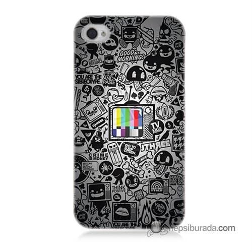 Teknomeg İphone 4 Kapak Kılıf Renkli Tv Baskılı Silikon