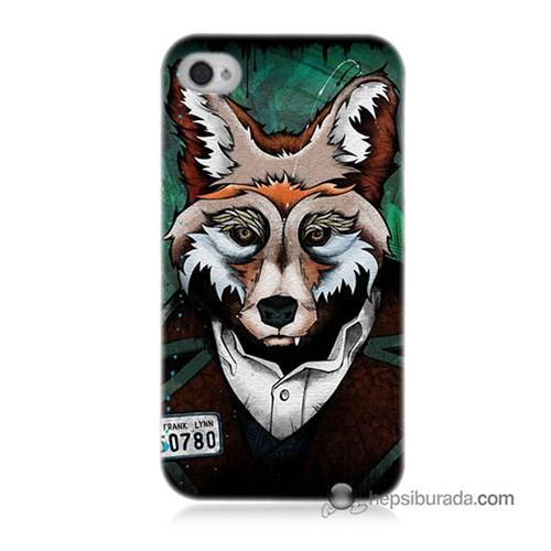 Teknomeg İphone 4 Kılıf Kapak Bad Wolf Baskılı Silikon